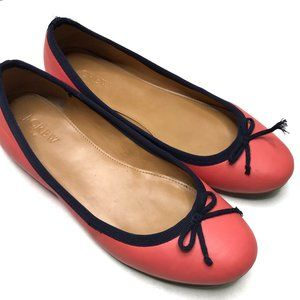 J. CREW | sz 7 coral and navy ballet flats